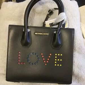 Michael kors love perforated black leather satchel